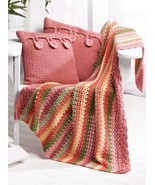 W561 Crochet PATTERN ONLY Colorful Stripe Throw & Cottage Button Pillows Pat - $7.50