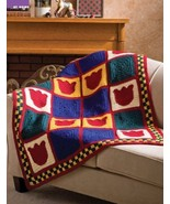 W943 Crochet PATTERN ONLY Pennsylvania Dutch Tulip Afghan Pattern - $7.50