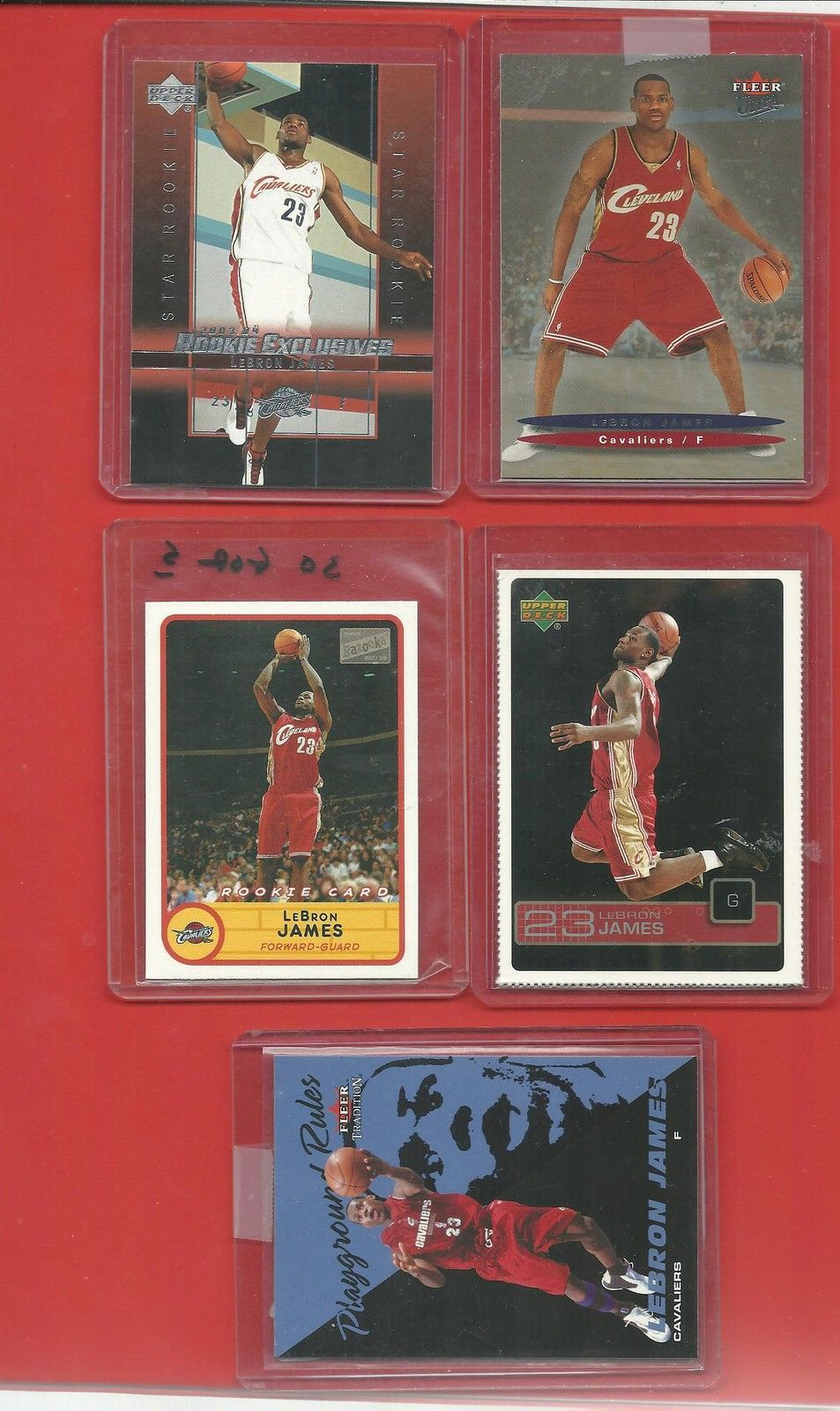 2003/4   LeBRON  JAMES   ROOKIES   5  DIFFERENT  CARDS  TOTAL    NEAR  MINT   !!