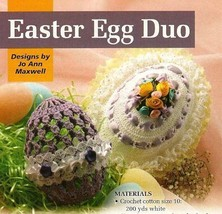 W041 Crochet PATTERN ONLY 2 Frilly Easter Egg Patterns Ribbons Flowers - $8.50
