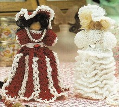 X939 Crochet PATTERN ONLY 2 Clothespin Dolls Peppermint Stick & Bride Pa... - $7.50