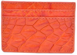 Precise Crocodile Leather Card Wallet In Coral Orange Color With Many Slots - $179.99