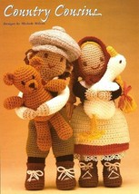 X126 Crochet PATTERN ONLY Country Boy and Girl Dolls with Bear and Duck ... - $9.50
