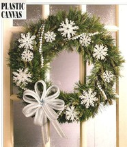 W446 Plastic Canvas PATTERN ONLY Snowflakes & Bow Christmas Ornament Pattern - $10.50