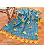 X026 Crochet PATTERN ONLY Fringe-as-You-go Stars & Moons Baby Blanket Pa... - $7.45