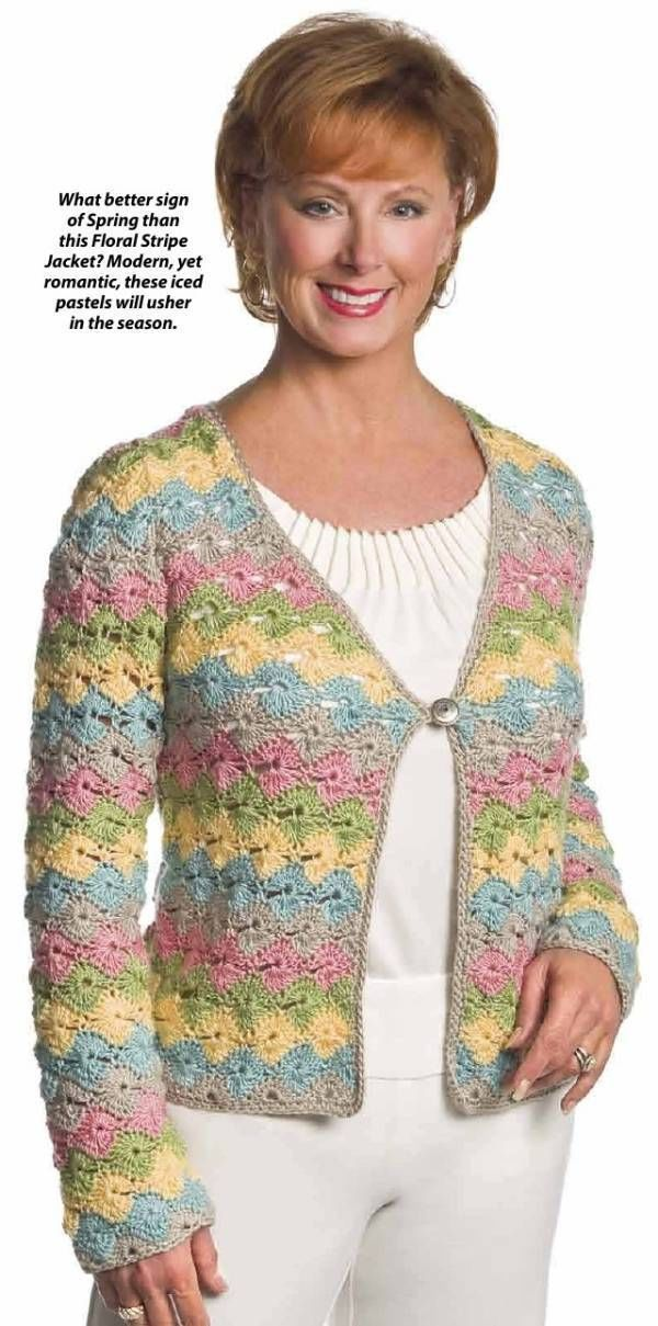 Primary image for X687 Crochet PATTERN ONLY Floral Stripe Jacket Pattern Sizes to 2XL