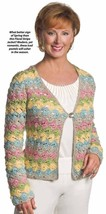 X687 Crochet PATTERN ONLY Floral Stripe Jacket Pattern Sizes to 2XL - $8.50