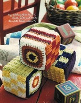 X766 Crochet PATTERN ONLY Plush Baby Blocks & Colorful Cap Toy Pattern - $7.50