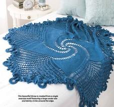 W378 Crochet PATTERN ONLY Blue Mandala Throw Afghan Swirled Star Motif Pattern - $7.50