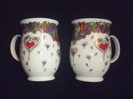 Set of 2 Emgland DUNOON Fine Bone China SUFFOLK Amour Hearts Coffee Tea ... - $56.09