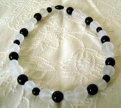 Choker, Avon, Beaded Summer Frost in Black & White  - $7.00