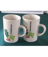 Starbucks Christmas Holly Mugs 2011 VGC Set Of Two - $14.00