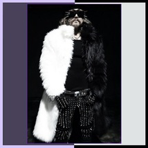 Men's Hip Long Luxurious Thick White Split Black Mix Mink Faux Fur Trench Coat image 1
