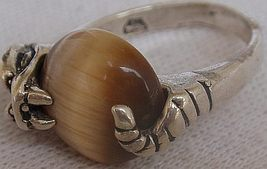 Brown car eye silver ring - $22.00