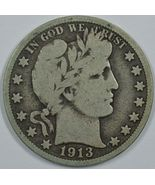 1913 P Barber circulated silver half dollar VG details - $115.00
