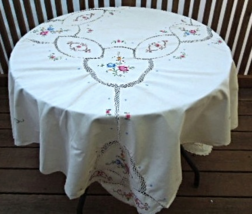 """Vintage Tablecloth Embroidered with Flowers Pieces Joined by Crochet62""""x78""""#6249 - $12.99"""