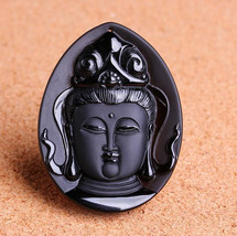 natural Obsidian Hand carved Tibet buddha zen  buddha guanyin pendant  - $15.83