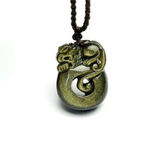 natural Gold Obsidian Hand carved pi yao pendant - $29.69