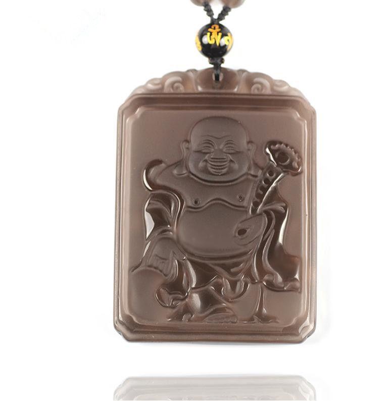 natural ice Obsidian buddha  zen Meditation yoga luck Laughing Buddha pendant  - $41.58