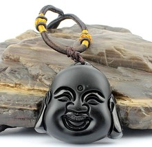 natural Obsidian Hand carved black buddha pendant  - $9.89