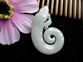 Hand carved 100% natural  jade old dragon good luck pendant - $41.58