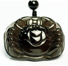 handmade natural Obsidian Hand carved  Crab pendant - $38.60