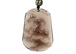 natural ice Obsidian Hand carved sheep good luck pendant - $38.60