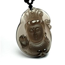 natural ice Obsidian buddha  zen Meditation yoga luck guanyin Buddha pendant  - $29.69