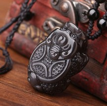 natural ice Obsidian Hand carved dragon Turtle pendant - $35.64