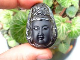 natural ice Obsidian buddha  zen Meditation yoga luck guanyin nice pendant  - $19.78