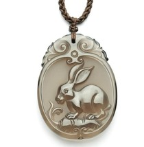 natural ice Obsidian Hand carved Rabbit good luck gift pendant - $38.60