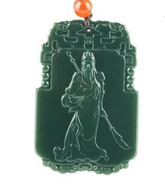 Hand carved natural green jadeguanyu gift good luck pendant - $33.66