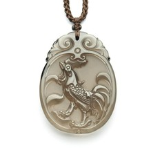 natural ice Obsidian Hand carved Chicken good luck pendant - $38.60