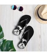 Black and White Shih Tzu Dog Flip-Flops - $24.75