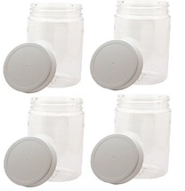 4 Pack 32oz Clear Round Wide Mouth PET Plastic Bottle Jars W/ Caps 967ml - $16.58