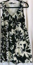 Ann Taylor Loft Dress 2 V Neck Sleeveless Silk/Cotton Floral Black White - $14.21
