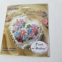 """Bucilla Silk Ribbon Floral Delight Potpourri Heart 1994 Embroidery Kit  3"""" x3"""" - $10.89"""