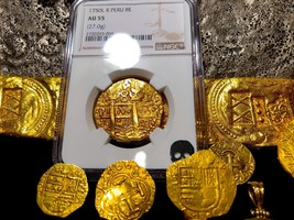 "Peru 1750 8 Escudos Ngc 55 ""La Luz"" Shipwreck Gold Doubloon Pirate Treasure Coin - $13,950.00"