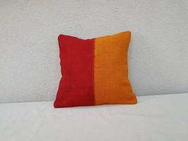 16'' X 16'' Vintage Handmade Orange Red Color Outdoor Wool Kilim Pillow ... - $26.72