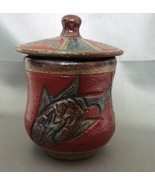 Japanese  Lidded Earthenware Tea Cup from Okinowa New Never Used Incised... - $5.99