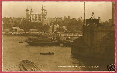 LONDON TOWER England RPPC Boats Judges BJs