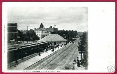Primary image for PETOSKEY MICHIGAN RR Depot Hotel UDB B&W MI