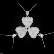 3pc White Gold 'Mom' 'Big Sis' 'Little Sis' Heart Pendant Necklace Set - $369.99+