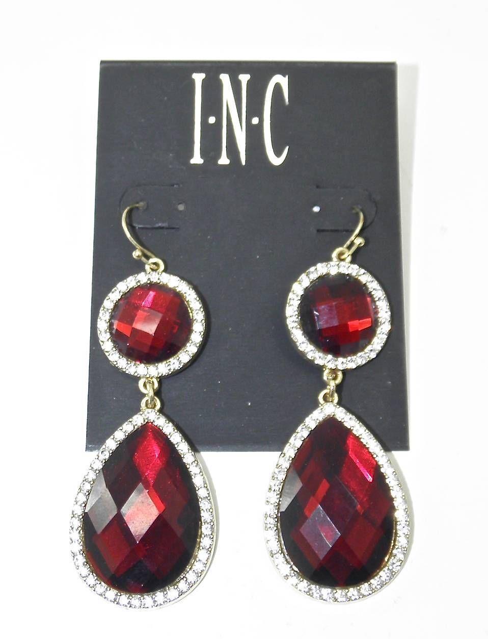 NEW I.N.C. INC GOLD TONED FANCY RUBY RED CRYSTAL DROP DANGLE EARRINGS TEAR DROP