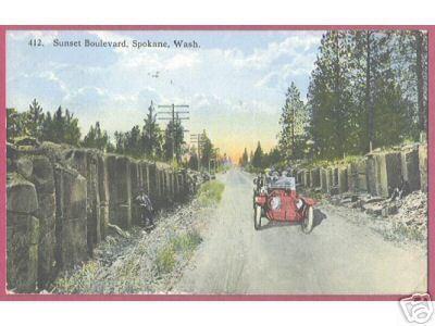 SPOKANE WASHINGTON Sunset Blvd Car 1915