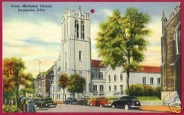 ZANESVILLE OHIO Grace Methodist Church OH Linen Cars - $4.00