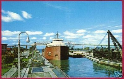 FREIGHTER J L Mauthe Soo Locks Michigan Great Lakes MI