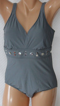 *NEW INC International Concepts Gray Studded Swimsuit 14 16 18 20 18W 20... - $23.19