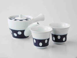 [Value] Hasami Porcelain : Kyusu tea pot & 2 Yunomi tea cups Set B (POLK... - $116.88