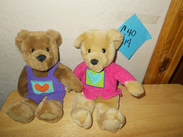 "Hallmark 10"" Bears with PUrple Overall with Heart boy and Girl Plush - $16.99"